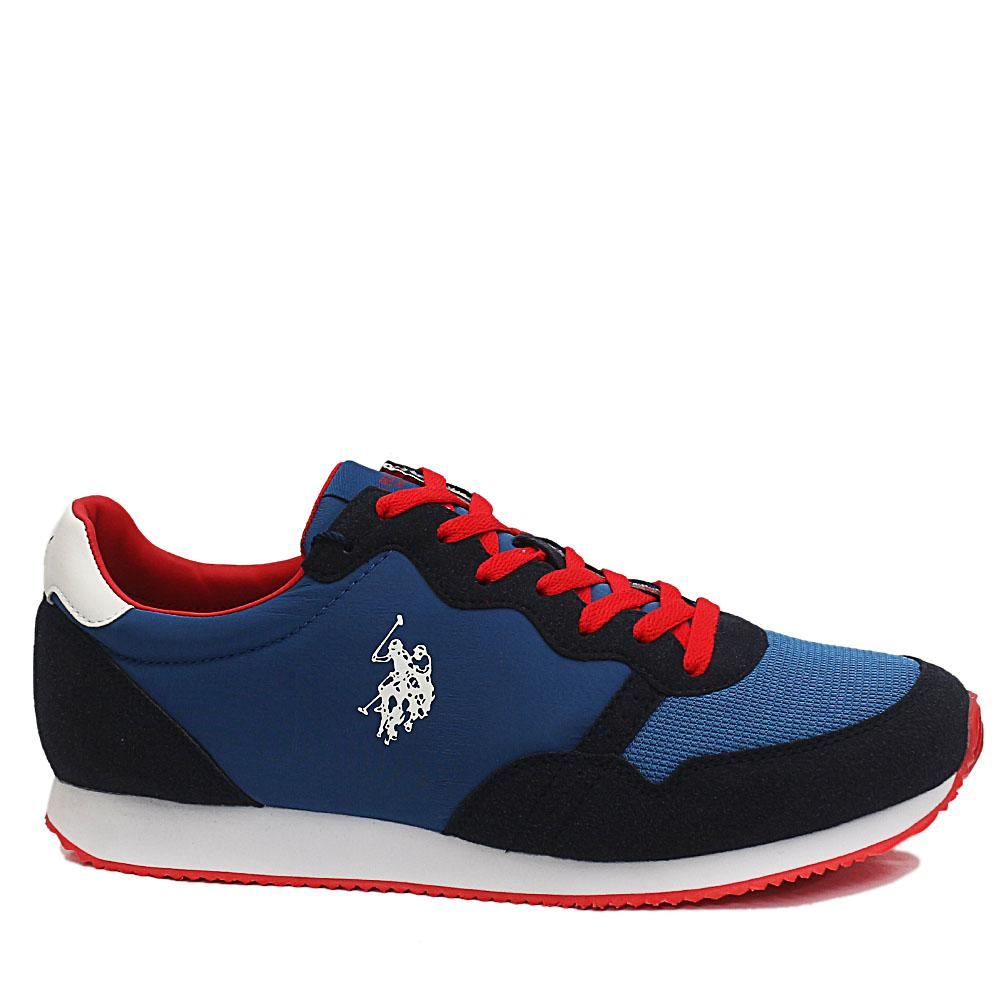 Blue Janko Mix Fabric Suede Leather Breathable Sneakers