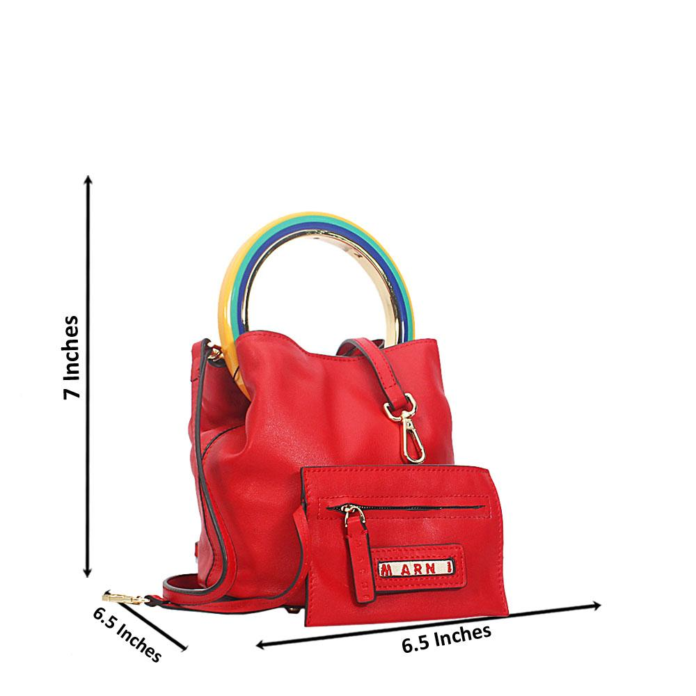 Red Marni  Montana Leather Mini Top Handle Handbag