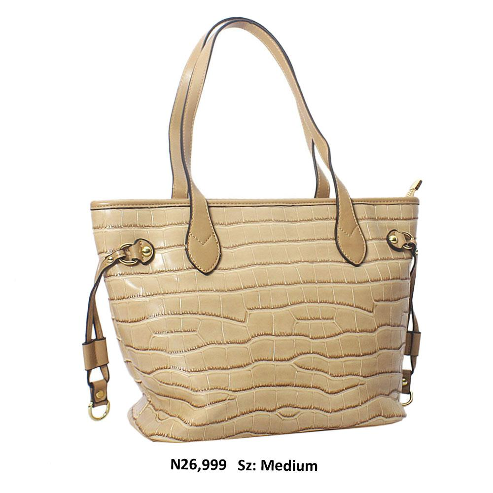 Beige Federica Croc Style Leather Shoulder Handbag