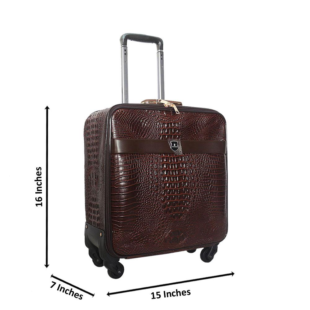 Coffee Brown Croc 16 Inch Leather Pilot Suitcase Wt Lock