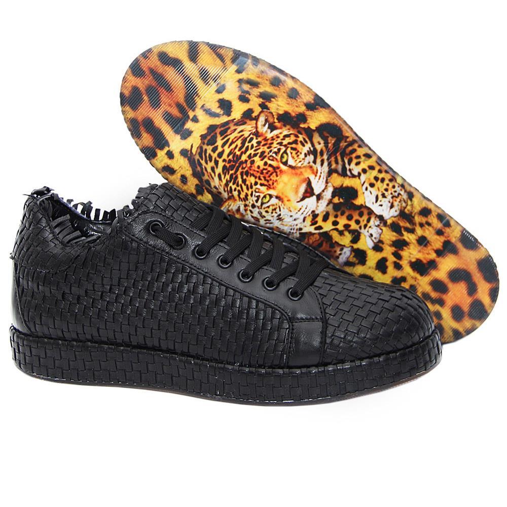 Black Alessi Woven Italian Leather Unisex Sneakers