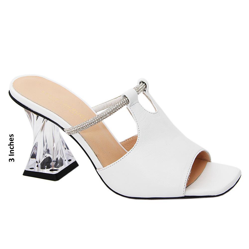 White Claretta Tuscany Leather High Heel Mule