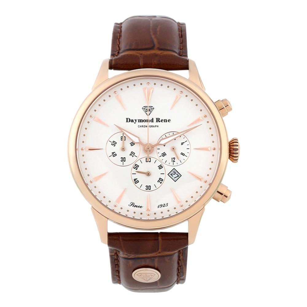 DR 3ATM Brown Rose Gold Leather Chronograph Watch