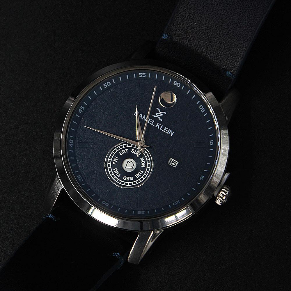 Daniel Klein Santiago Navy Silver Steel Leather Classic Series Watch