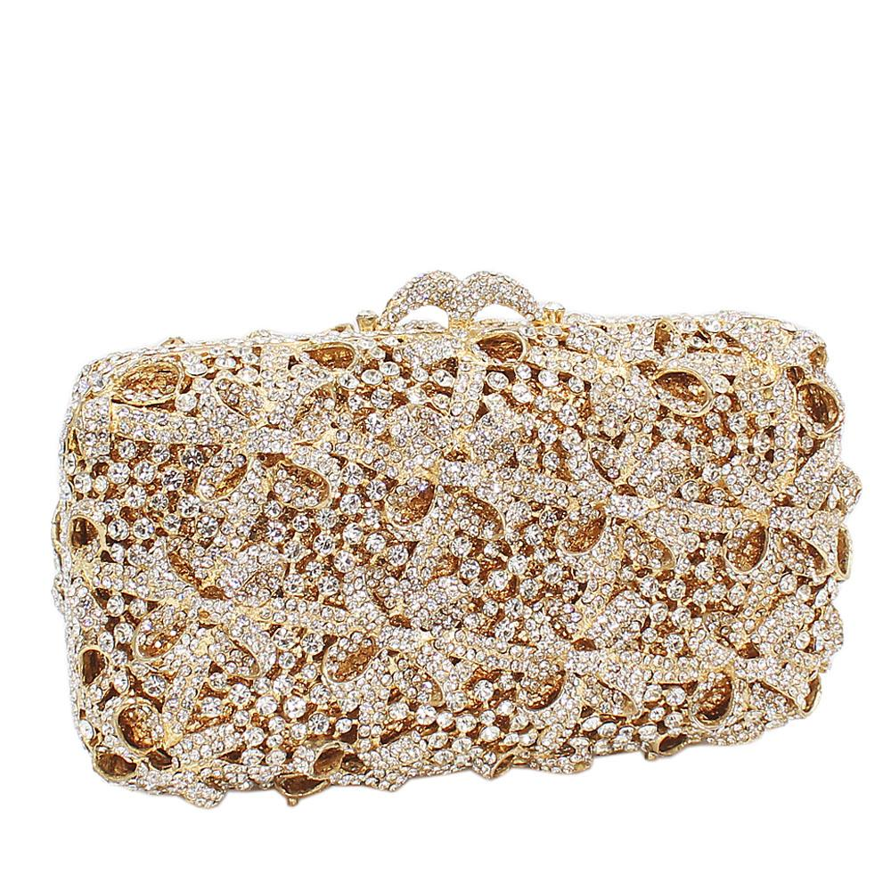 Shimmering Gold Diamante Crystals Clutch Purse