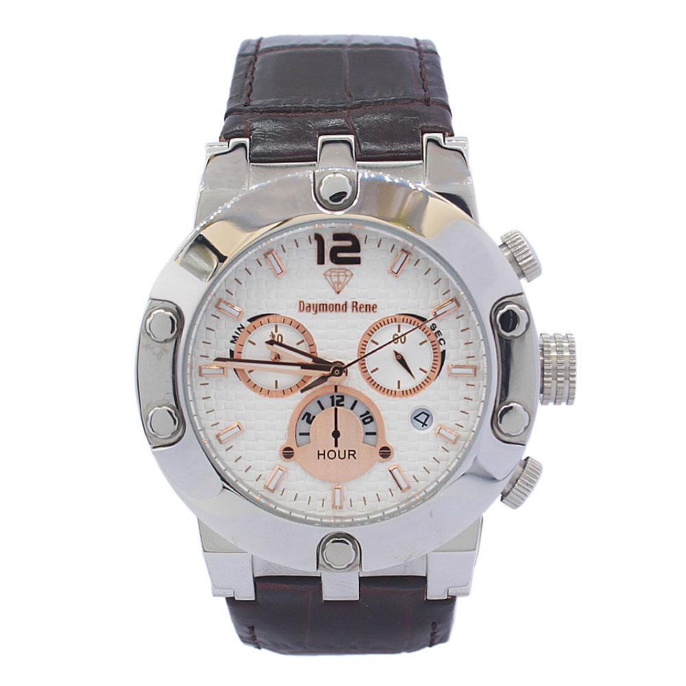 DR 5ATM Silver Coffee Leather Chronograph Watch