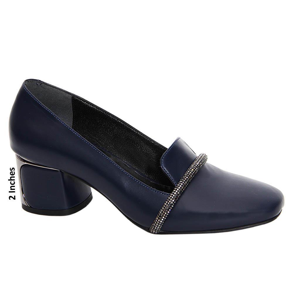 Navy Maria Paula Tuscany Leather Mid Heel Pumps