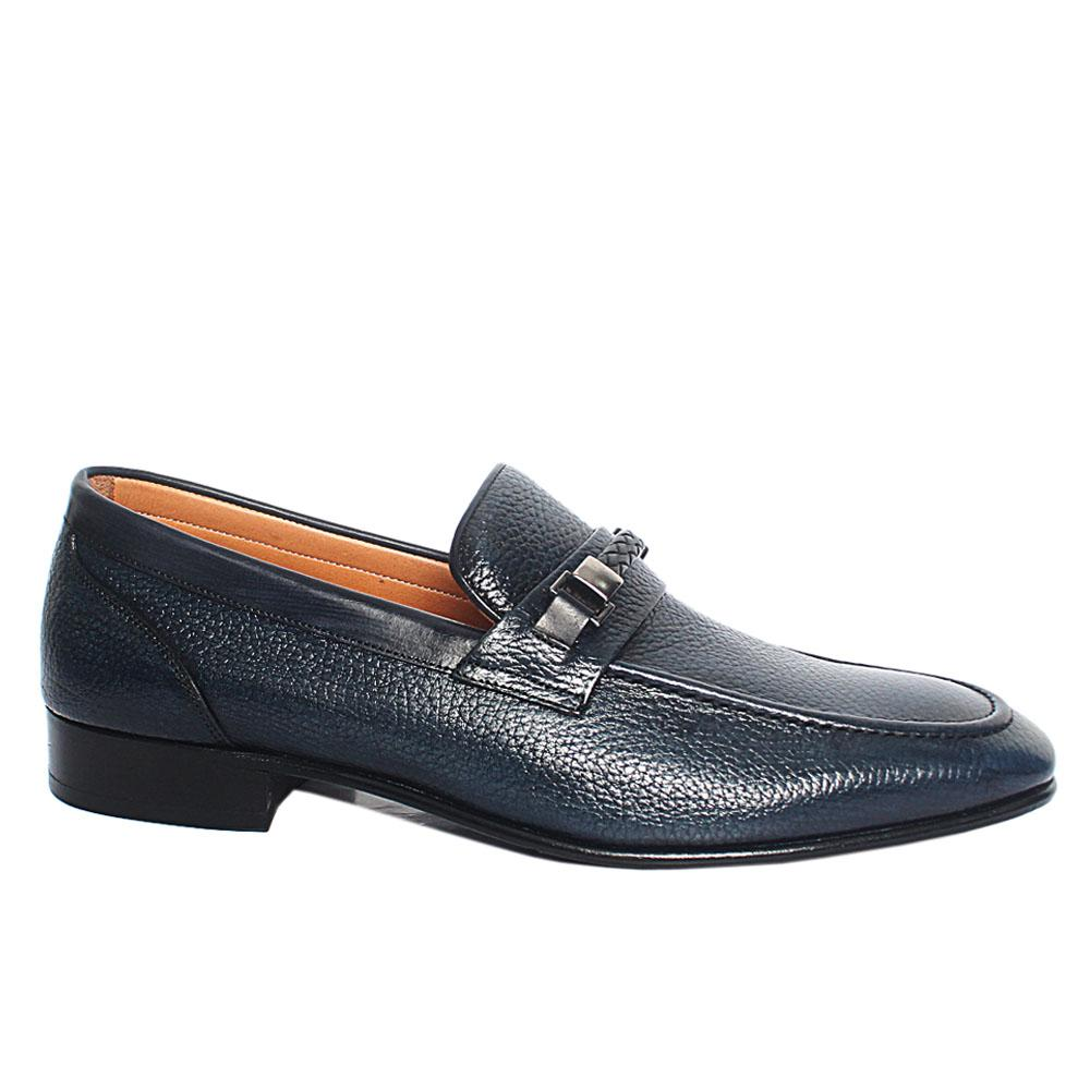 Navy Blue Roda Italian Leather Penny Loafers