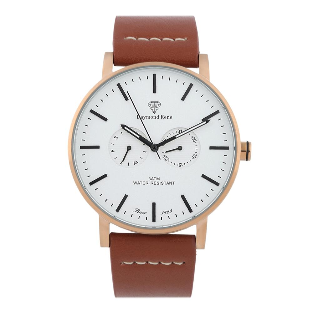 DR 3ATM Cinnamon Brown Rose Gold Leather Coin Watch