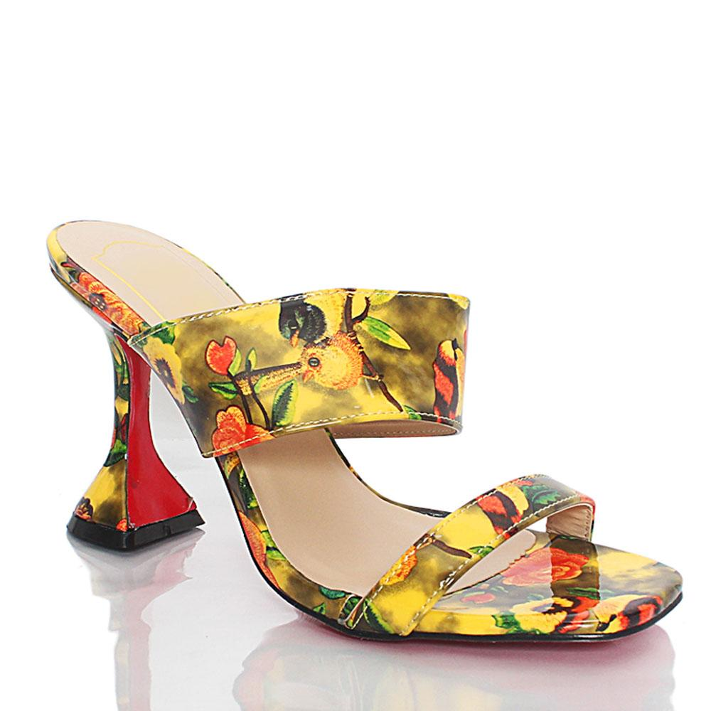 Yellow Floral Graphic Print Patent Leather Mules