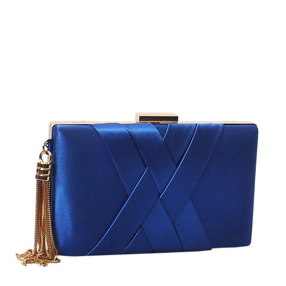Blue Fabric Premium Hard Clutch