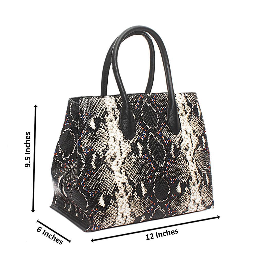 Buy Black-Animal-Skin-Saffiano-Leather-GJG-Handbag - The Bag Shop ... 1d3c39c2a7f4d