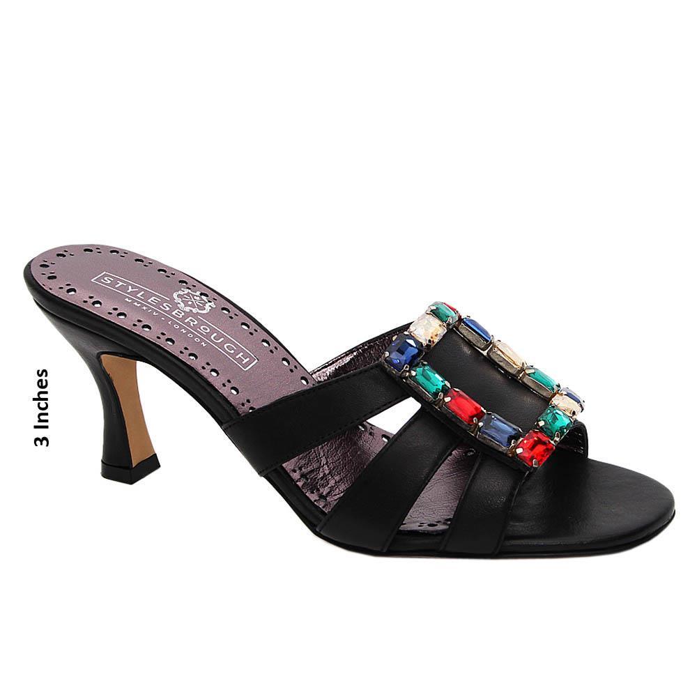 Black Gemma Studded Italian Leather Mid Heel Mule