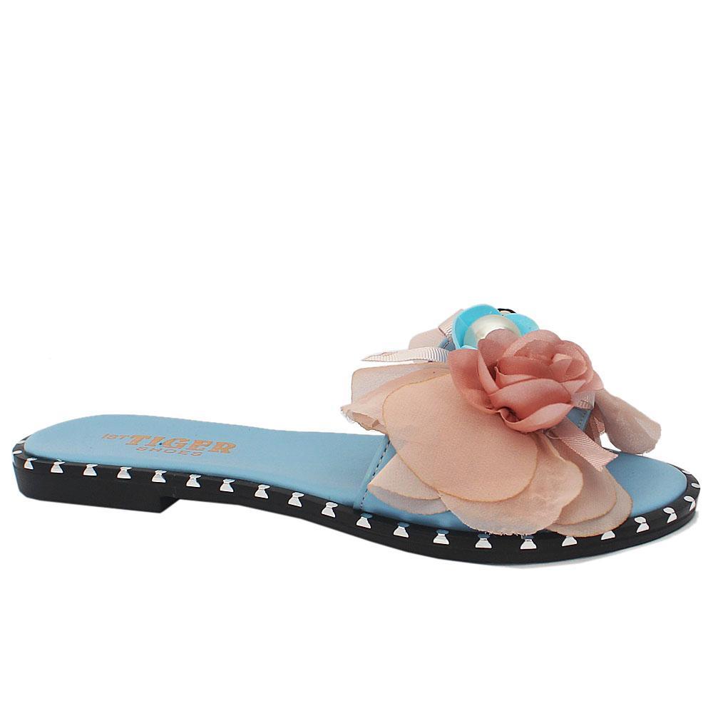 Sz 37 Blue Leather Flat Ladies Slippers