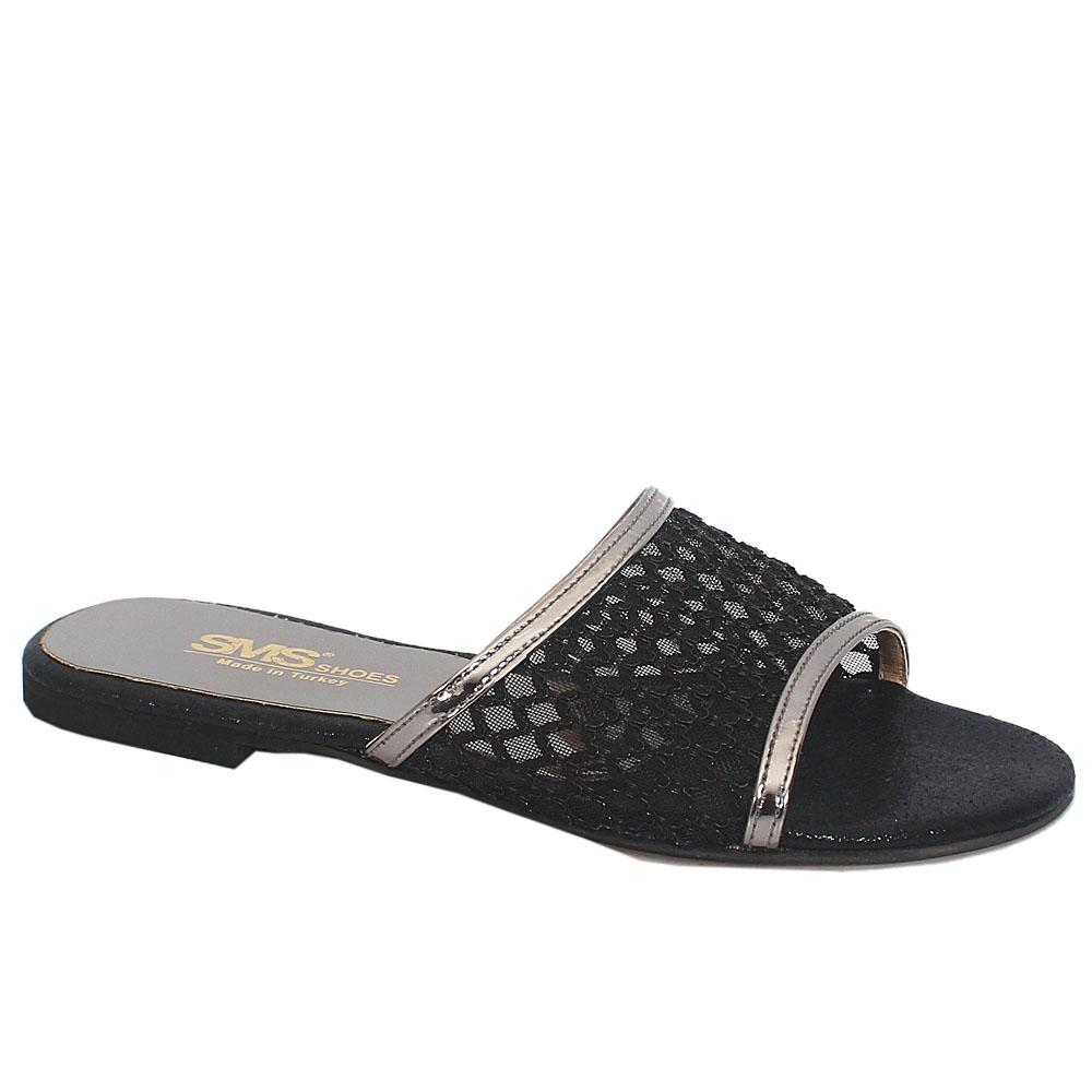 Sz 37 Gray Black Leather Open Toe Mesh Flat Ladies Slippers