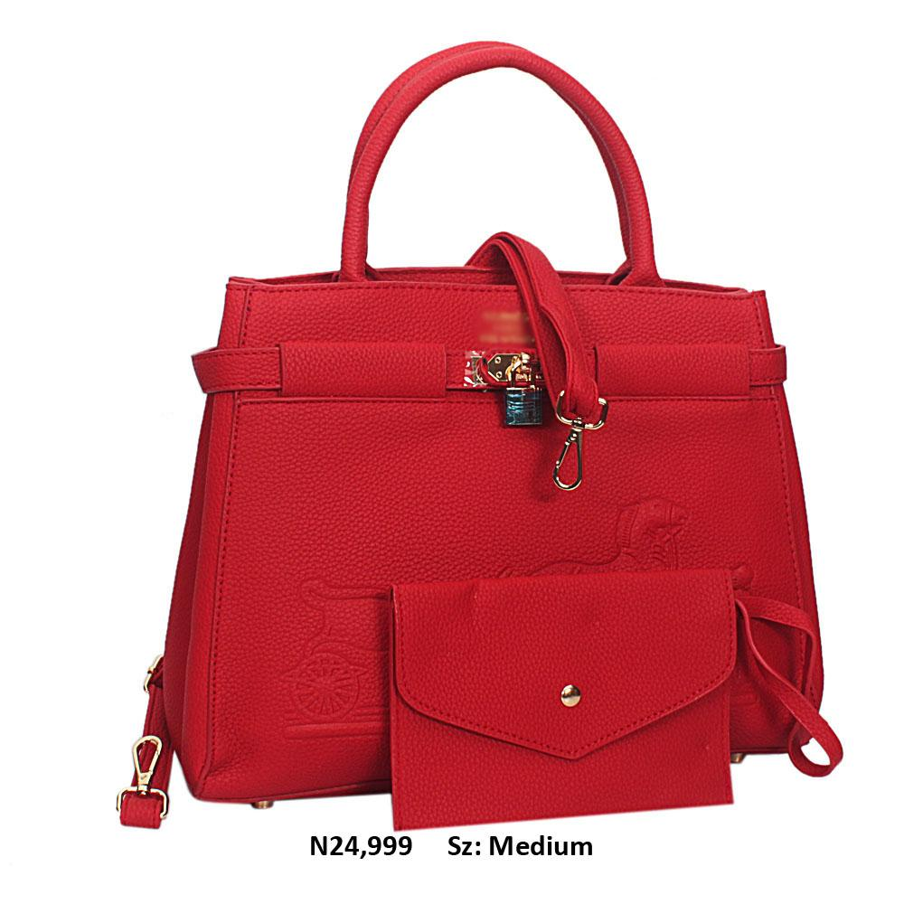 Red Jauna Leather Tote Handbag