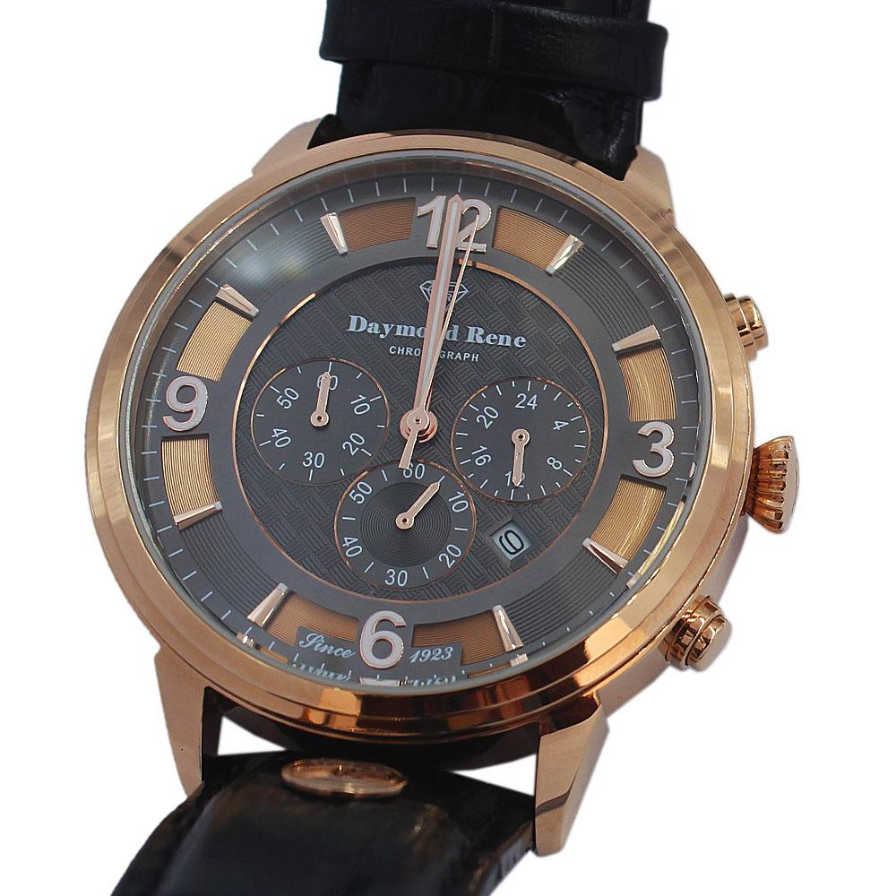 DR 3ATM Rose Gold Black Leather Chronograph Watch