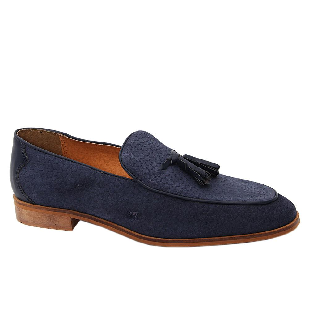 K. Geiger Navy McHenry Leather Tassel Loafers