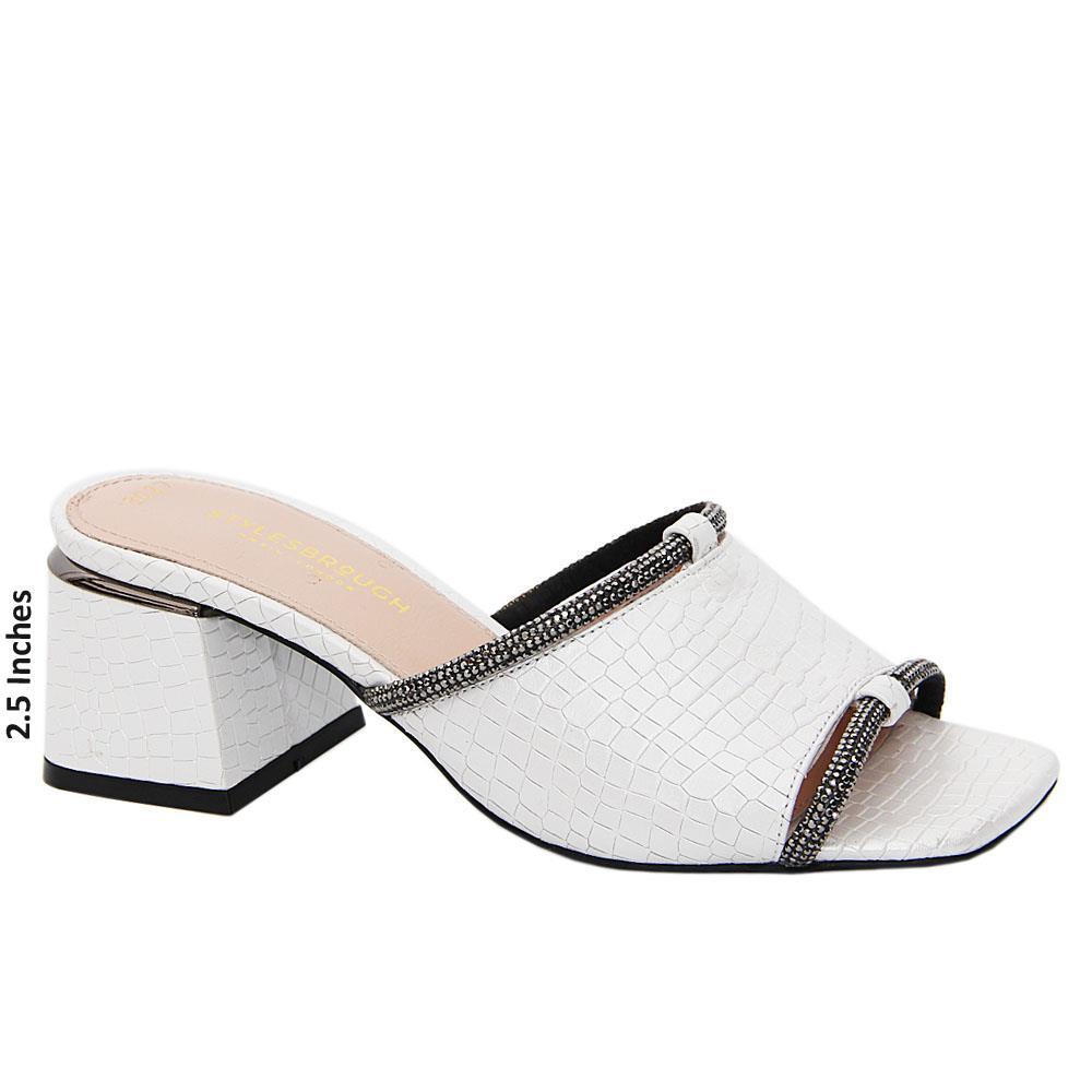 White Ivory Tuscany Leather Mid Heel Mule