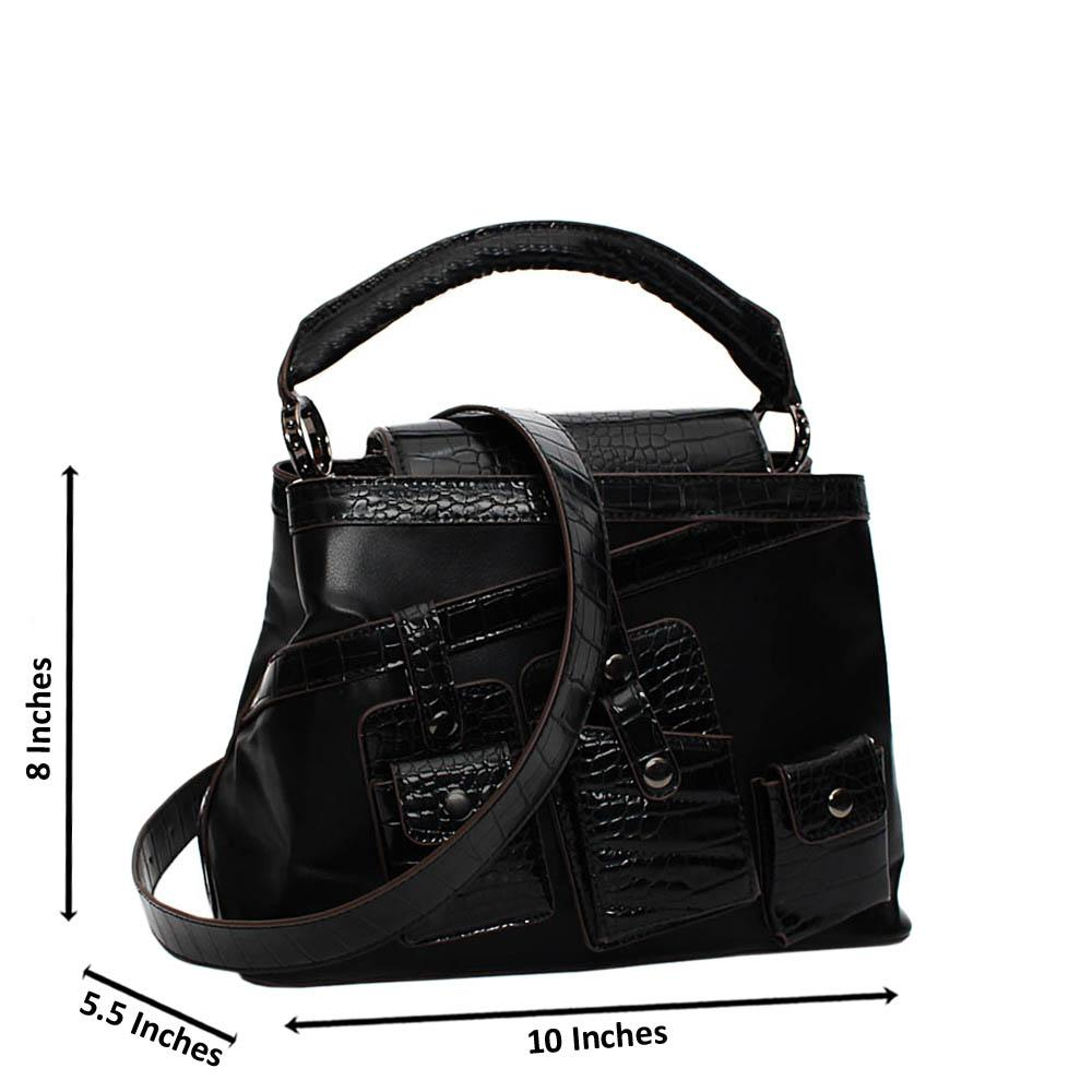 Black Buffy Mix Croc Leather Small Top Handle Handbag