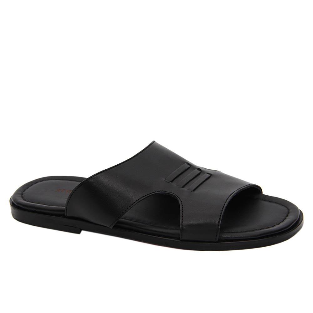 Black Osvaldo Italian Leather Slippers