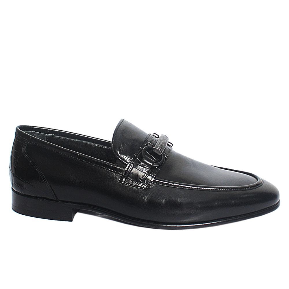 Black Roda Italian Leather Penny Loafers