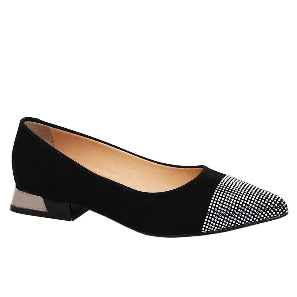 Black Audrey Studded Suede Tuscany Leather Low Heel Pumps