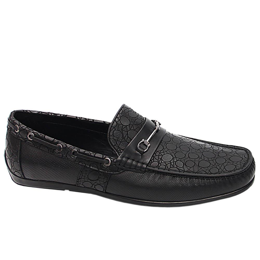 Black Dino Italian Leather Men Horsebit Drivers Shoe
