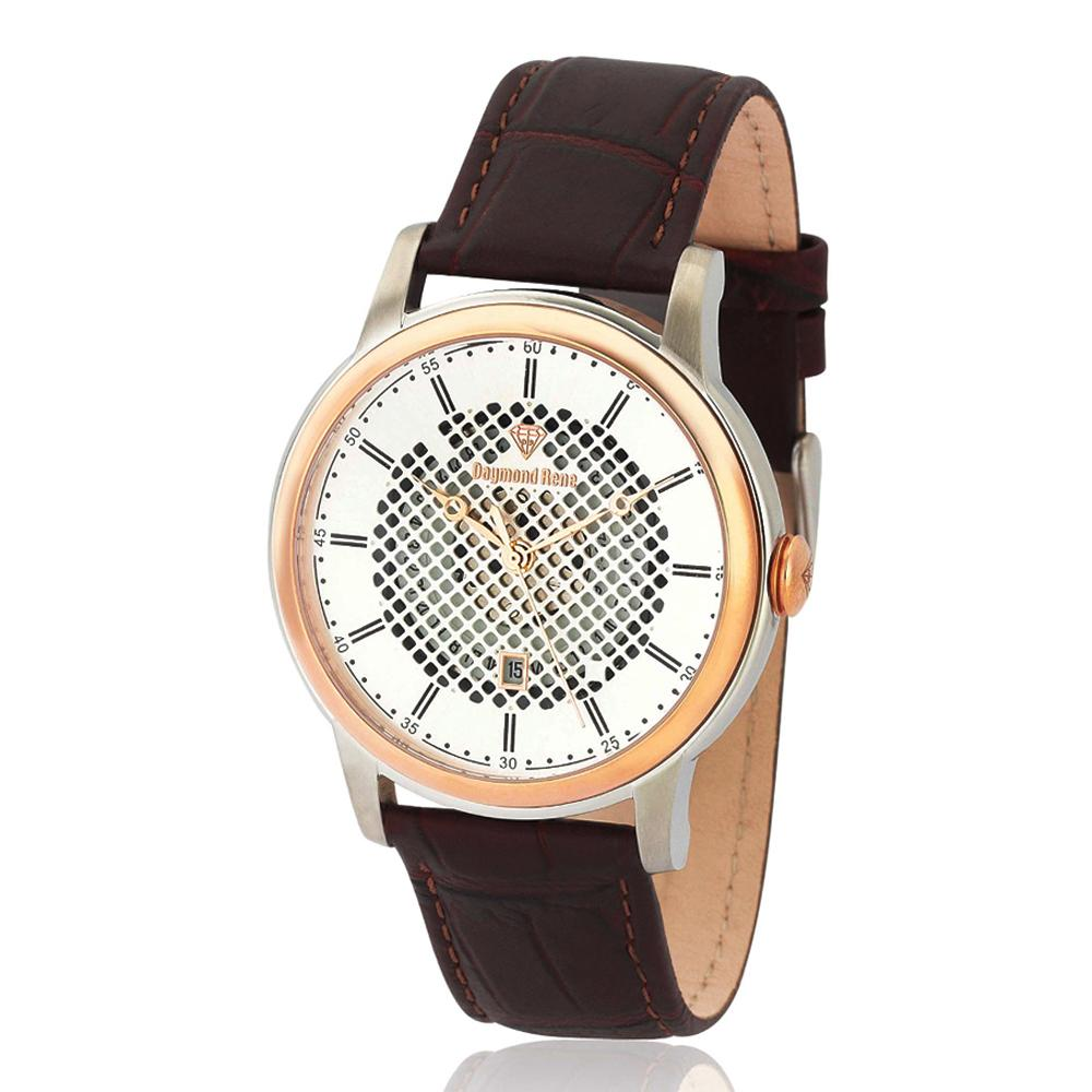 DR 5ATM Coffee Silver Leather Watch