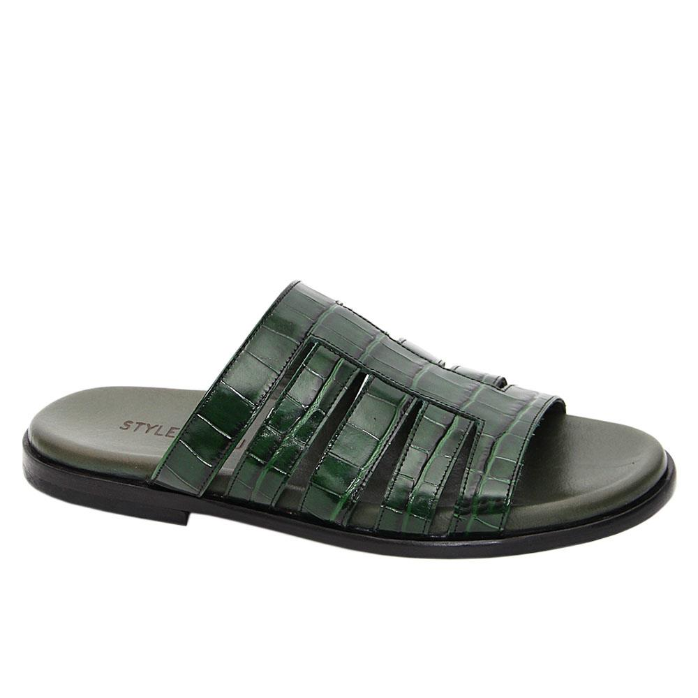 Green Ermanno Italian Leather Slippers