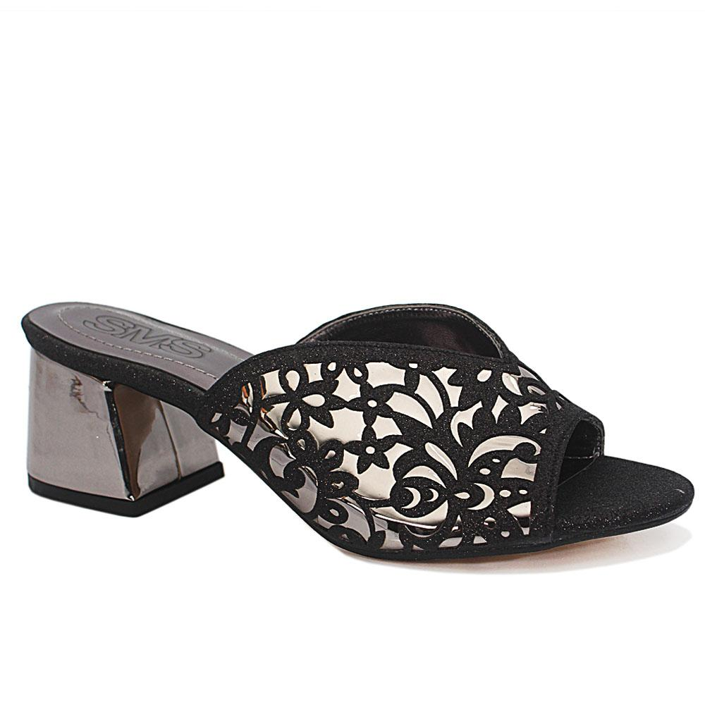 Sz 37 Maite Black Floral Shimmering Leather Low Heel Ladies Slippers