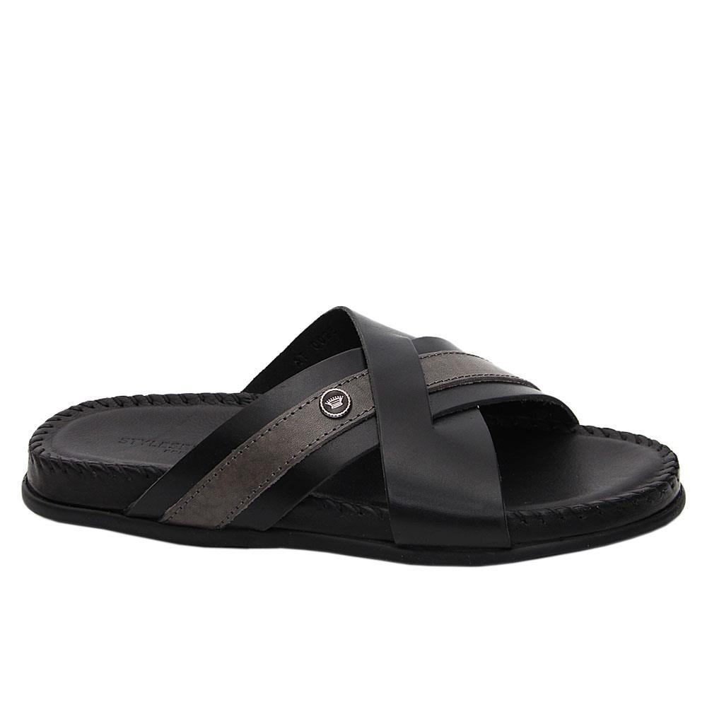 Black Romeo Crossover Italian Leather Comfort Sole Slippers