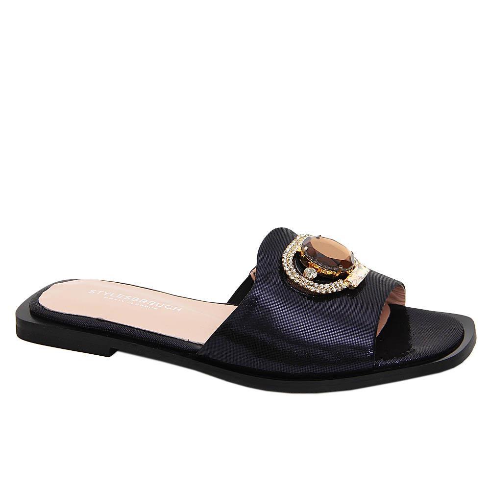 Dark Navy Aretha Glitz Tuscany Leather Women Flat Slippers