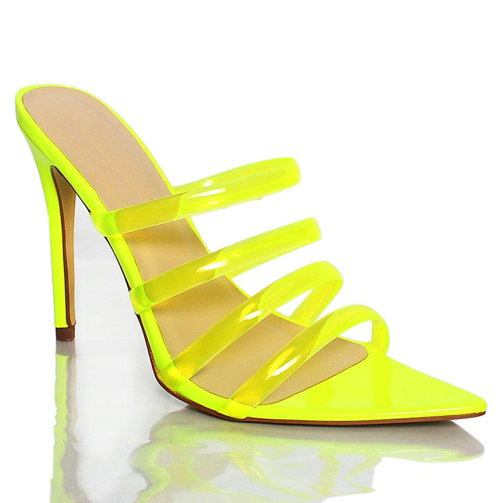 Green AM Diane Rubber Top Leather 4 Inch High Heel Slippers