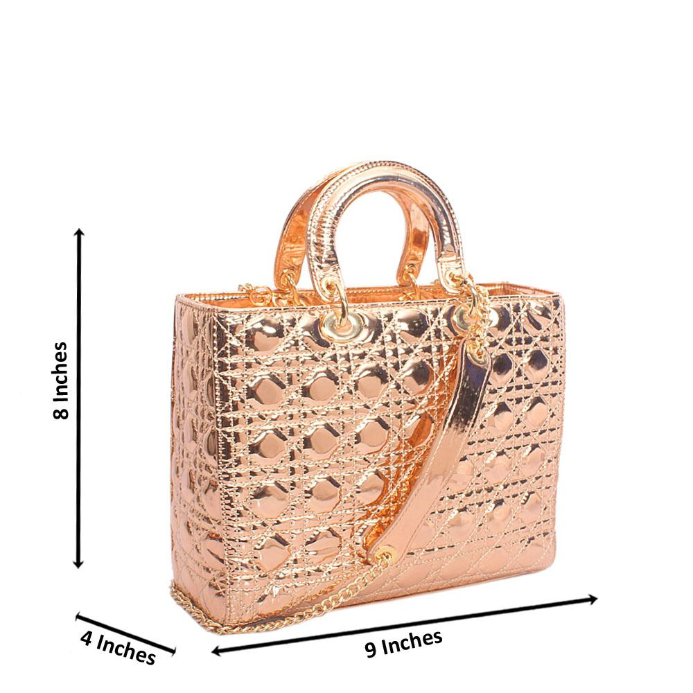 Rose Gold Patent Leather Small Tote Handbag