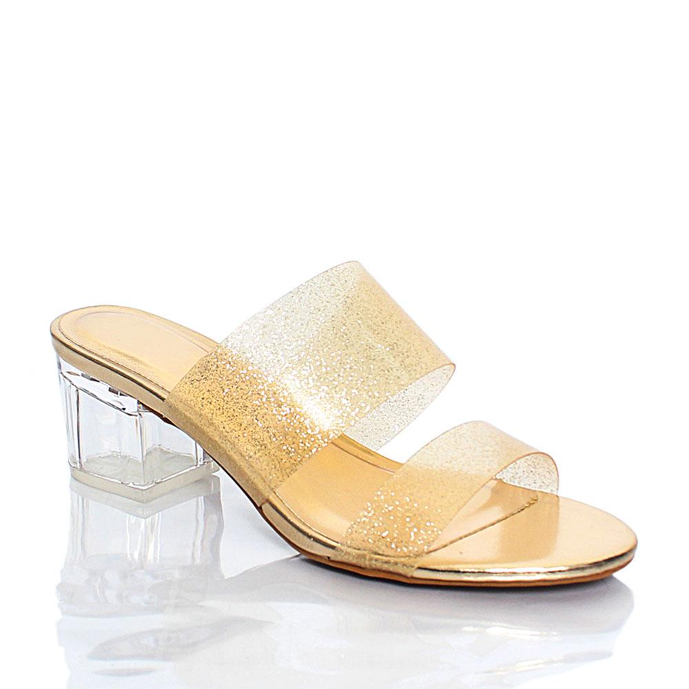 Gold Transparent Rubber Top Leather Mule