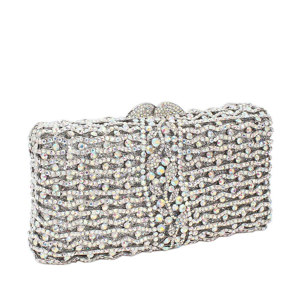 Silver Rect Wave Diamante Crystal Clutch Purse