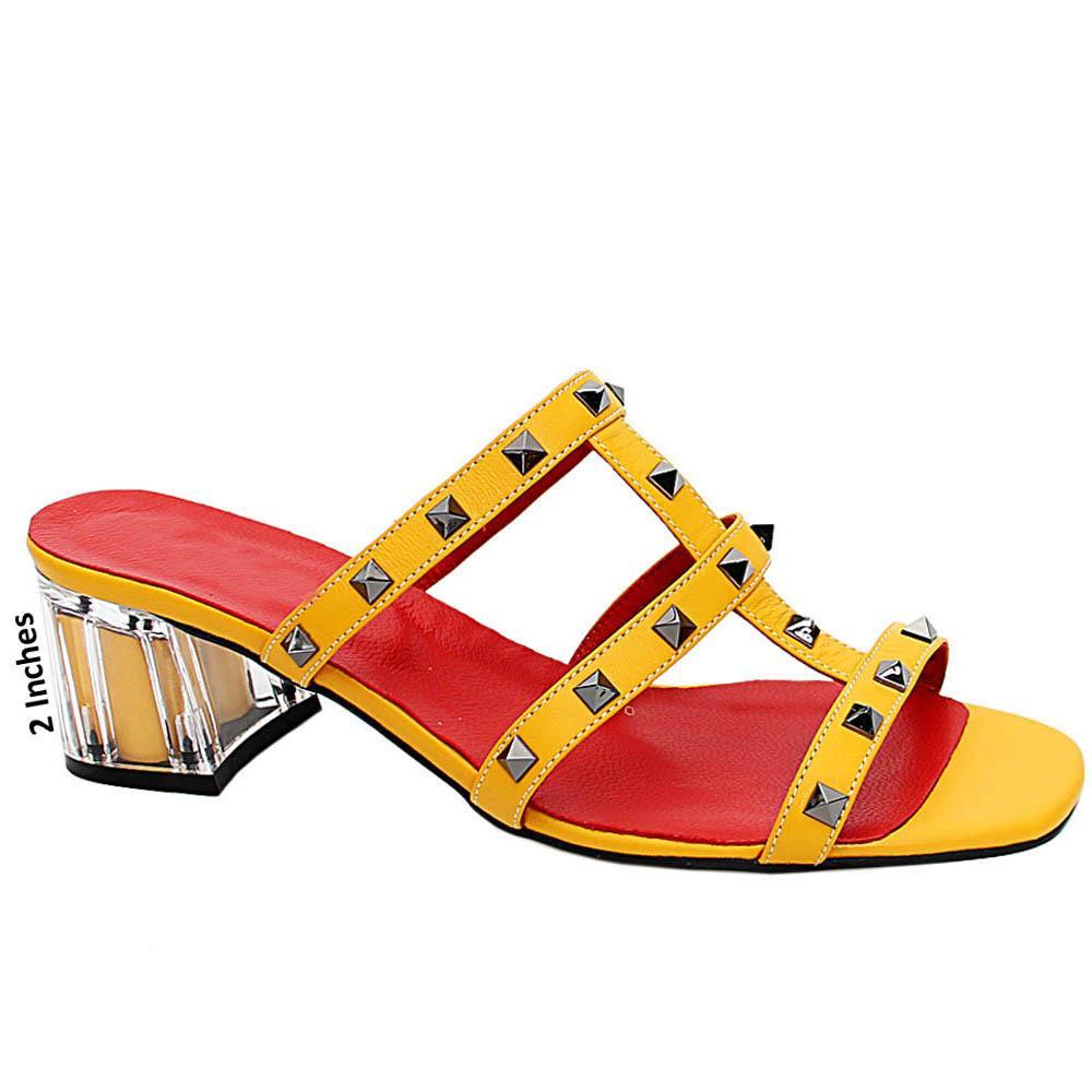 Yellow Evelina Studded Italian Leather Mid Heel Mule