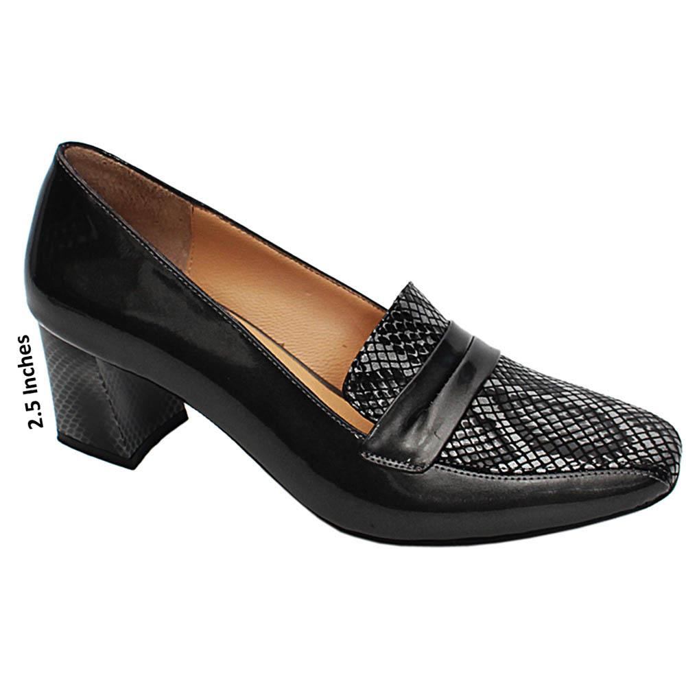 Gray Sonia Snake Skin Patent Italian Leather Block Heel Pumps