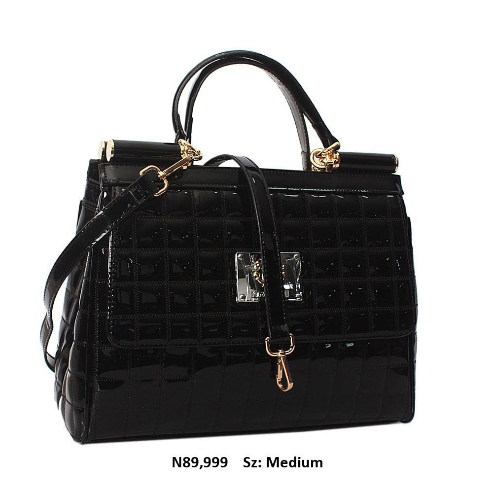 Valeria Black Square Threaded Patent Cowhide Leather Tote Handbag