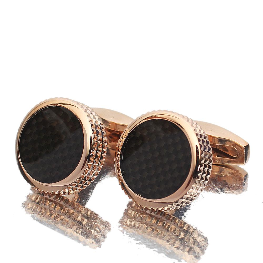 Rose Gold Black Etched Pearl Stainless Steel Cufflinks