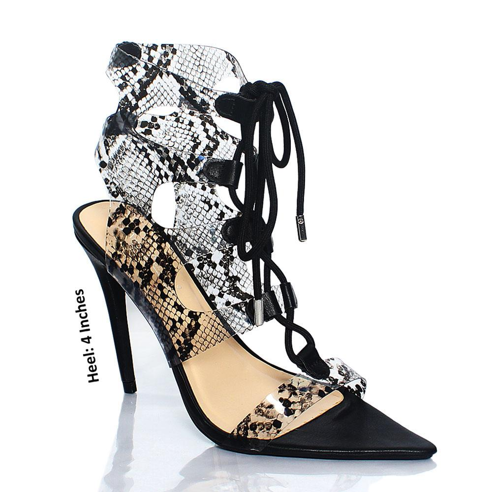 Black Snake Skin Rubber AM Grommet Lace Up Heels