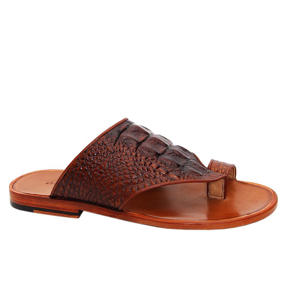 Brown-Aaron-Italian-Leather-Toe-Loop-Slippers