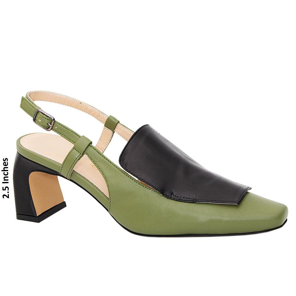 Dark Green Black Lina Tuscany Leather Mid Heel Slingback Pumps