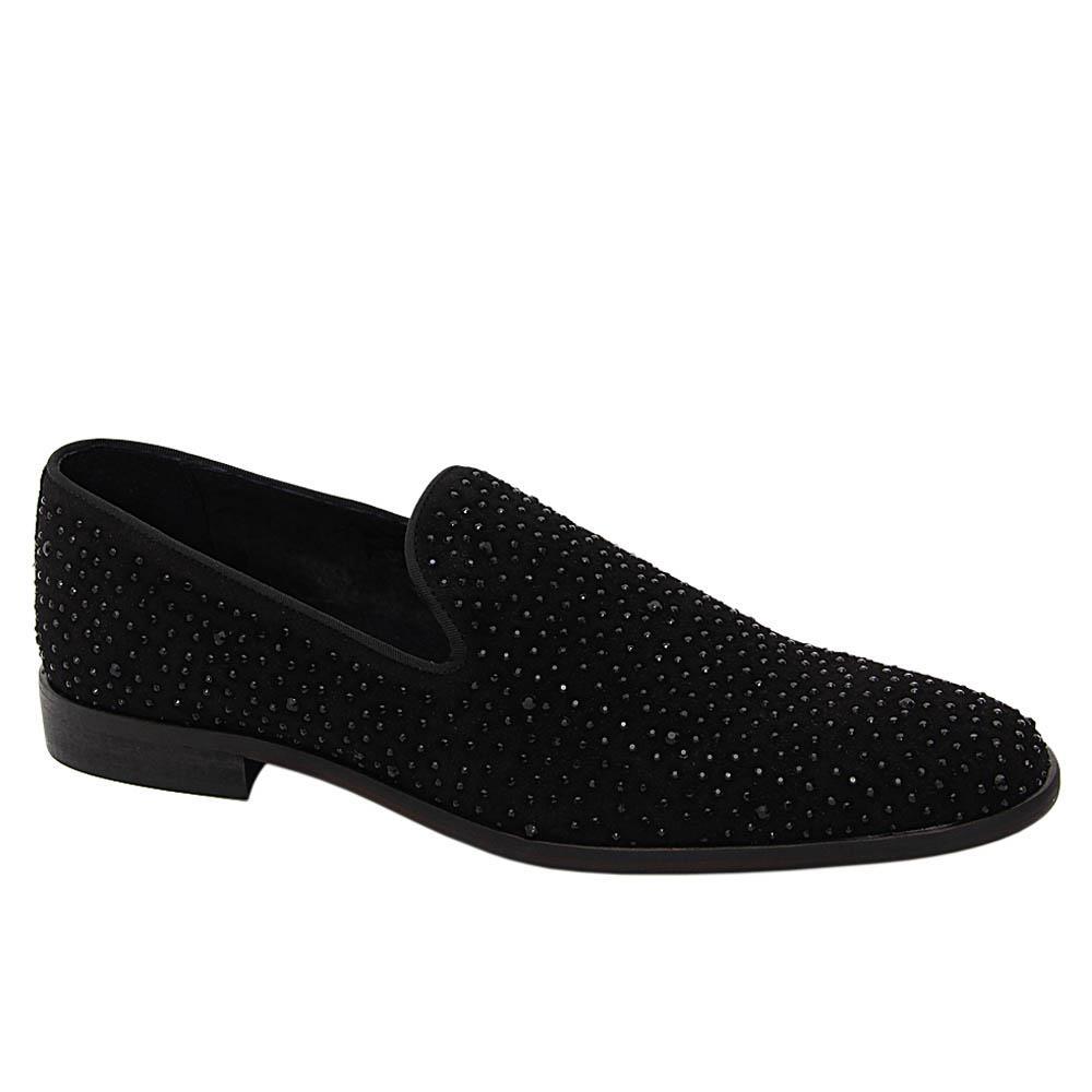 K Geiger Black Kyle Studded Suede Leather Loafers