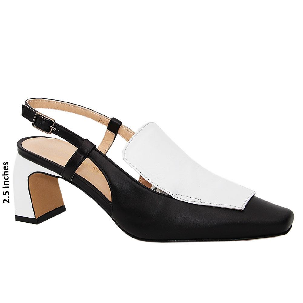 Black White Lina Tuscany Leather Mid Heel Slingback Pumps