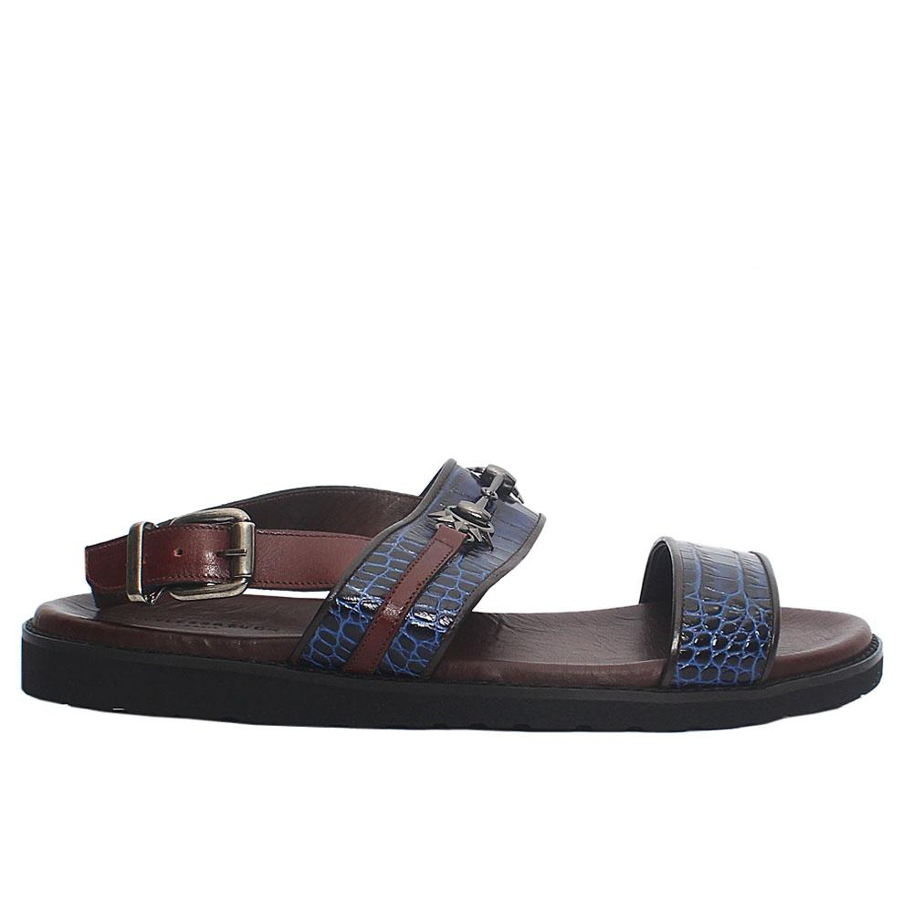 Blue Brown Croco Italian Leather Men Sandals
