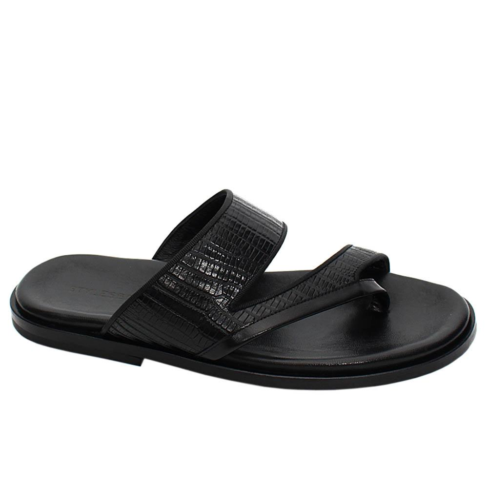 Black Bosco Italian Leather Men Slippers
