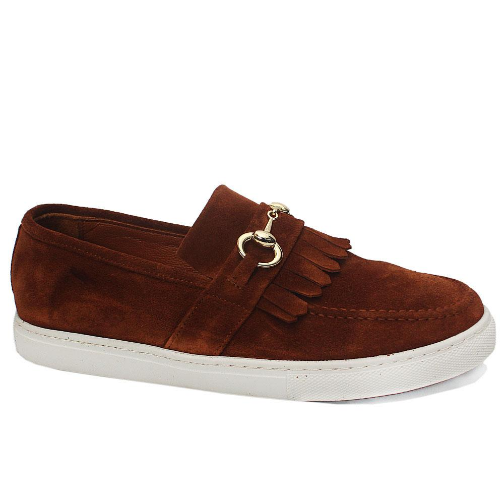 Caramel Brown Suede Fringe Leather Slipon Loafers