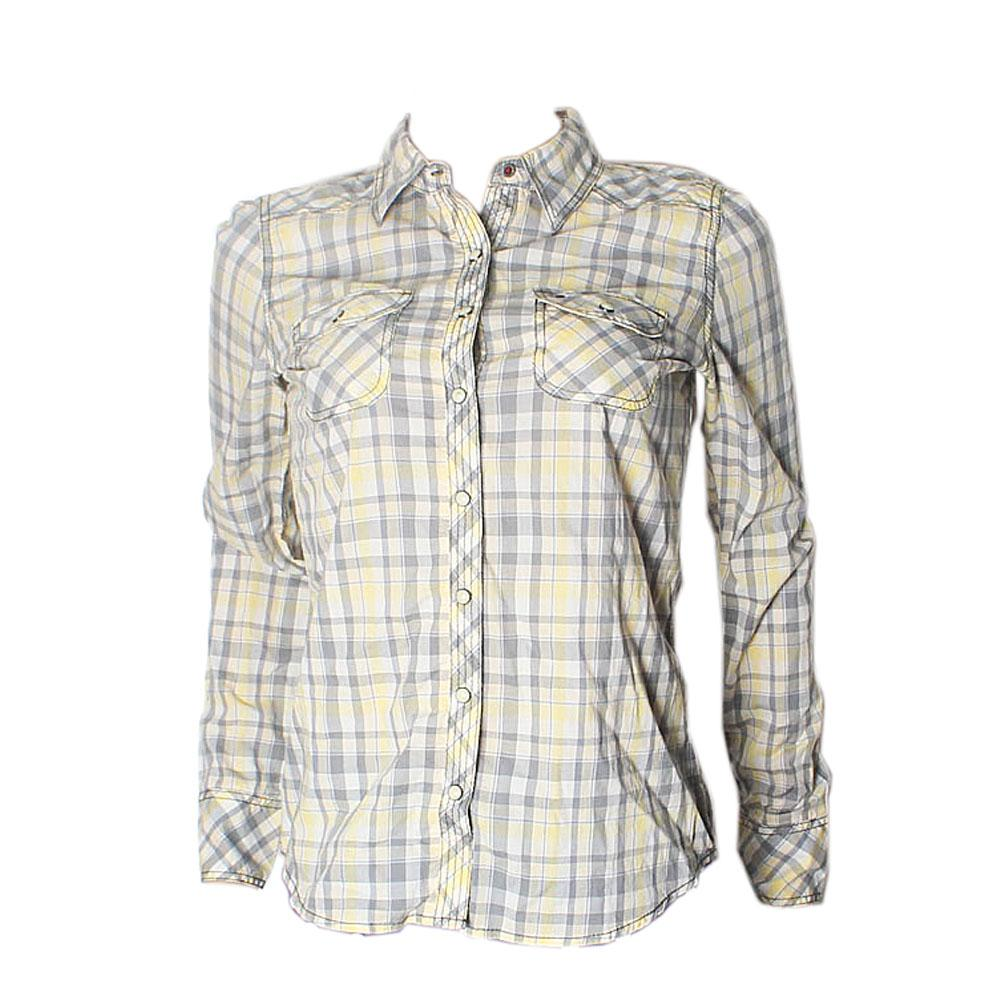 Hilfiger Denim Yellow-Grey Cotton Check L-Sleeve Mens Shirt-S